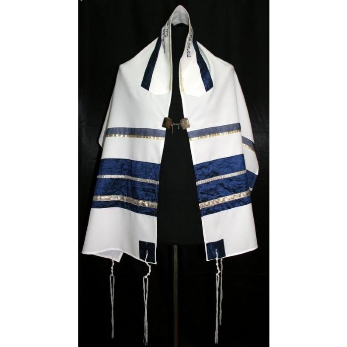 "Navy & Gold Tallit Prayer Shawl 51x72"" (130/180 cm) #55 Wool Embroidery to 10 letters"