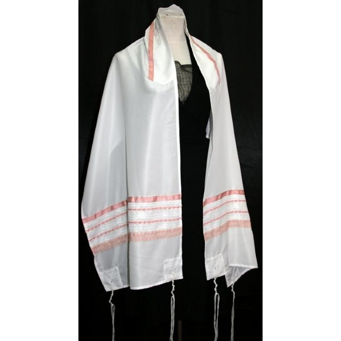 "Organza Silk Tallit Set-White 51x72"" (130/180 cm) #55 Wool Embroidery to 10 letters"