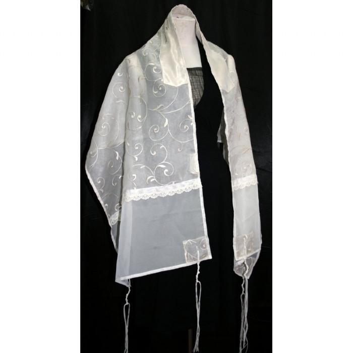 "Organza Tallit Cream Color 16"" x 63"" (40/160cm)"