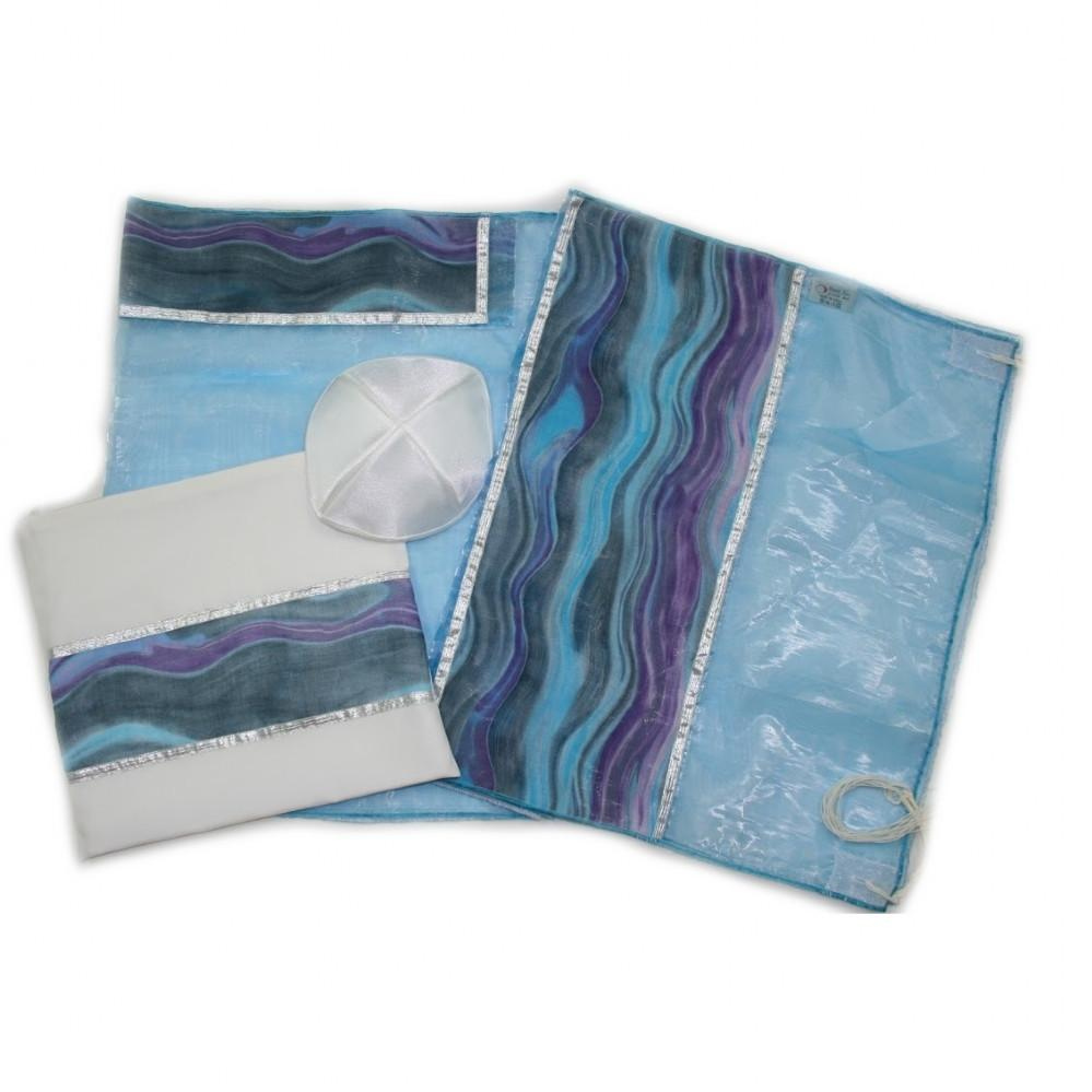 Organza Tallit Set Blue Ocean Waves