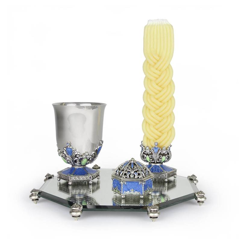 Ornate Havdalah Set Ocean Blue Enamel