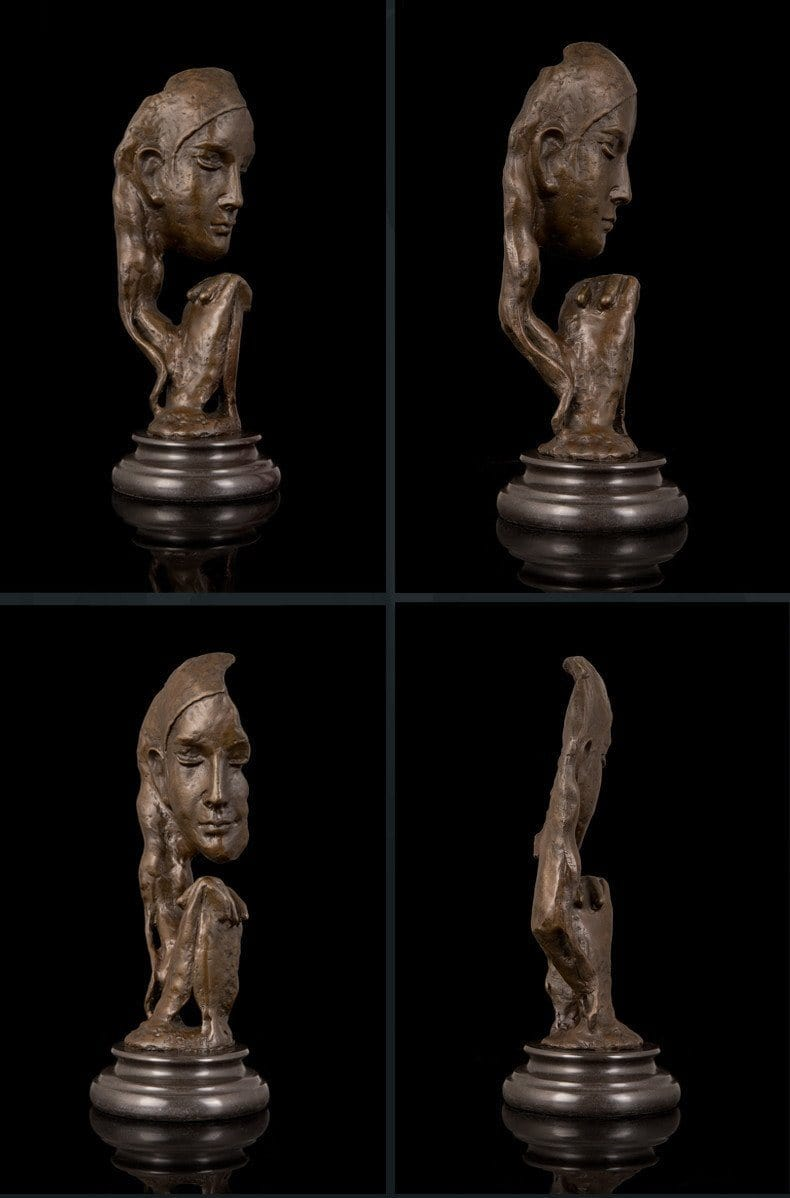 Our Jewish Mothers Art Sculpture - Abstract Face Shape Bronze Statue In Prayer Sculptures