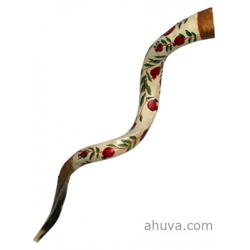 Painted Shofar -Pomegranates Large