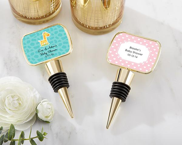 Personalized Gold Bottle Stopper with Epoxy Dome - Baby Shower Personalized Gold Bottle Stopper - Baby Shower