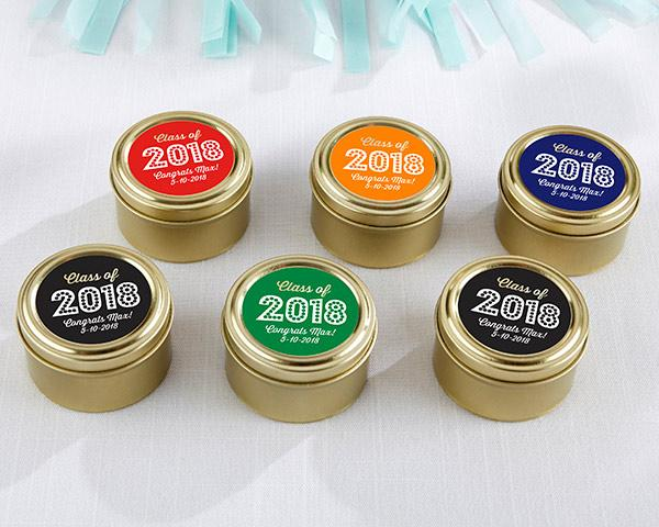 Personalized Gold Round Candy Tin - Milestone Birthday (Set of 12) Personalized Gold Round Candy Tin - Baby Brunch (Set of 12)