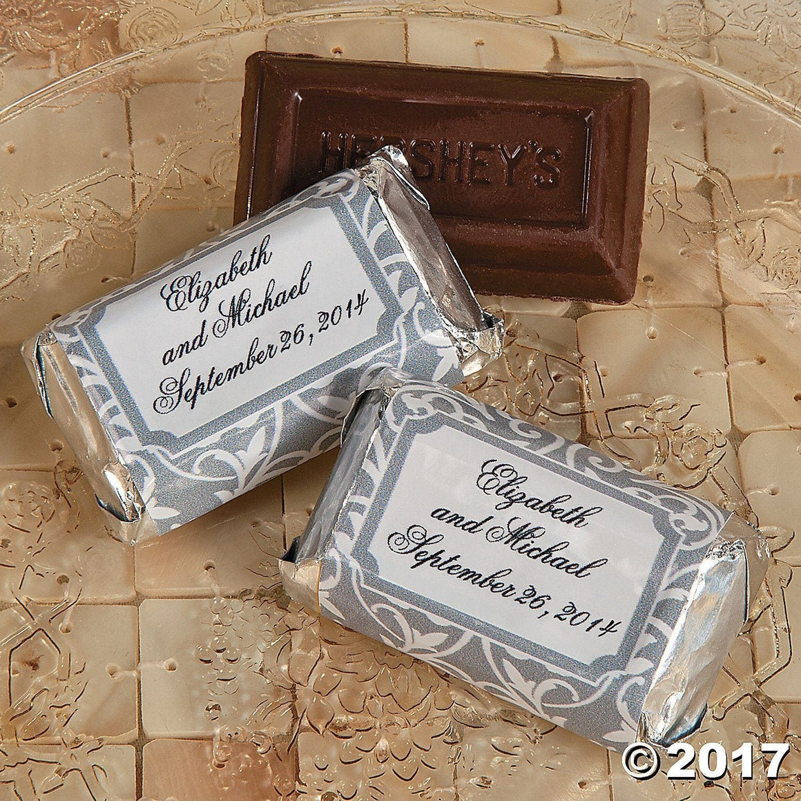 Personalized Grey And White Mini Hershey'S® Bars