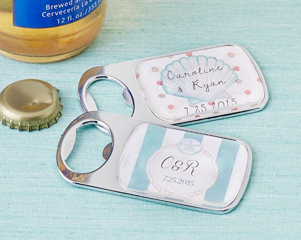 Personalized Silver Bottle Opener with Epoxy Dome - Beach Tides Personalized Silver Bottle Opener - Beach Tides