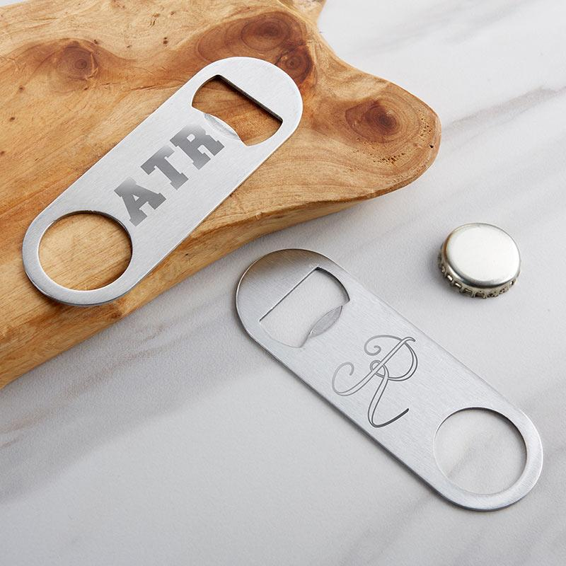 Personalized Silver Oblong Bottle Opener - Engraved Personalized Silver Oblong Bottle Opener - Anniversary