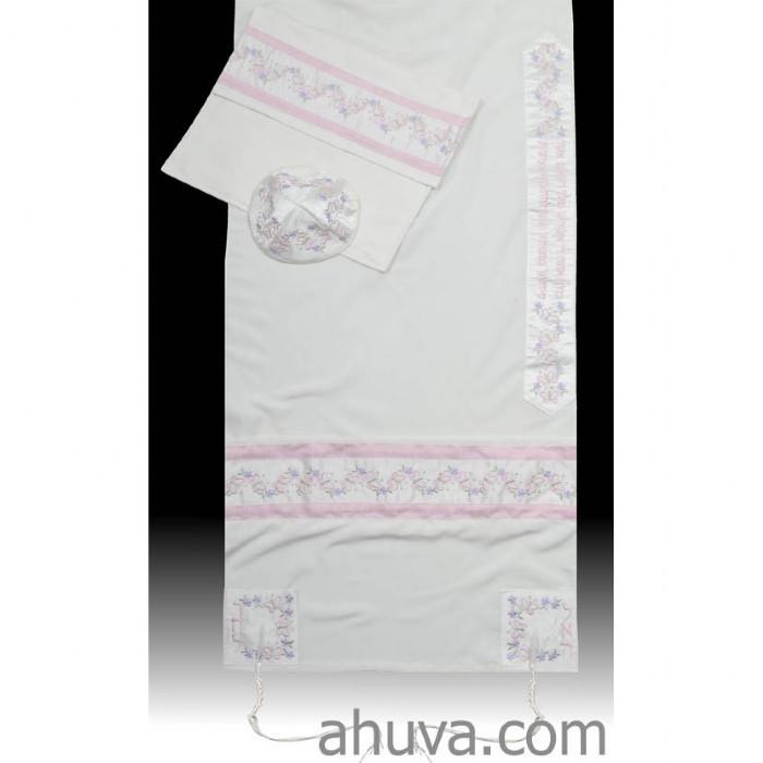 "Pink Embroidered Women Tallit Set 51x72"" (130/180 cm) #55 Wool Embroidery to 10 letters"