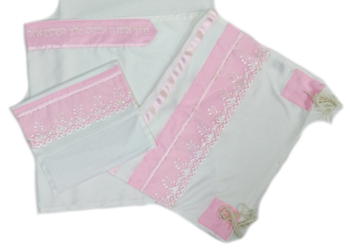 Pink Floral Tallit 4 Piece Hand Embroidered Set Tallit