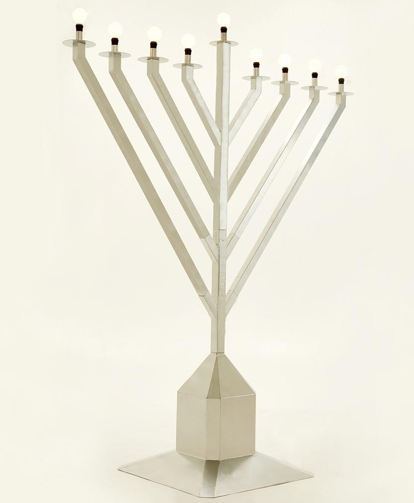 Public Electric Menorah 9 Foot Tall Gold