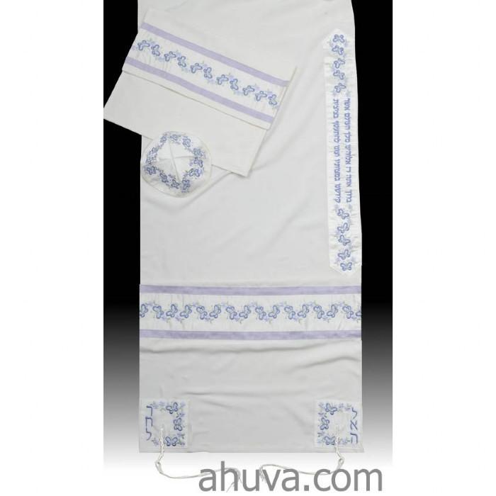 "Purple Embroidered Women Tallit Set 51x72"" (130/180 cm) #55 Wool Embroidery to 10 letters"