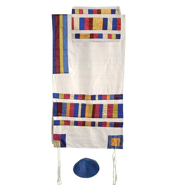 "Raw Silk Applique`d Tallit - 40""- Multicolor"