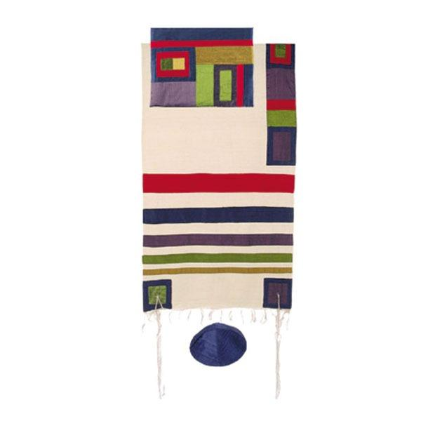 "Raw Silk Tallit with Stripes 42""X 77- Multicolor"