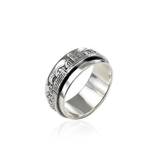 Ring Old City Of Jerusalem Skyline In Silver