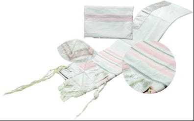 "Rose Tallit 3 Piece Set 18"" x 72"" (45/180 cm) Embroidery to 20 Letters"