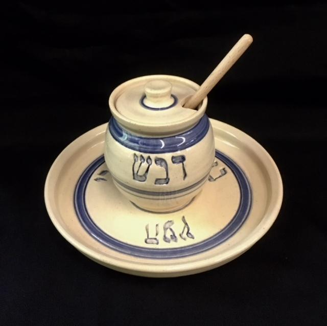 Rosh Hashannah Handmade Ceramic Honey Plate Set