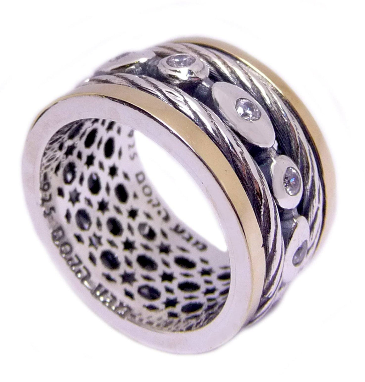 Rotating Silver Ring Inlaid With Zircon