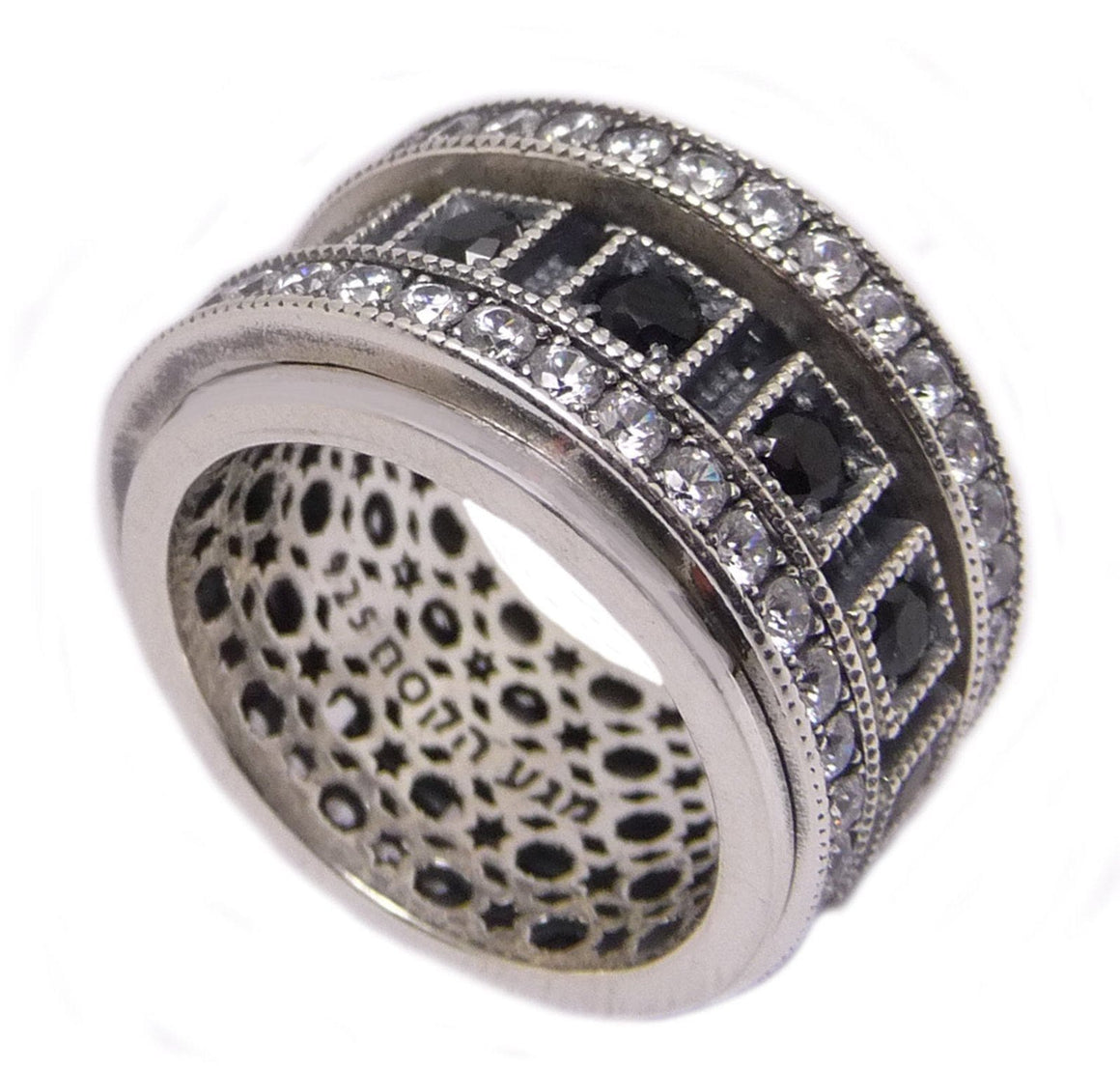 Rotating Sterling Silver Ring Inlaid Zirconian stones
