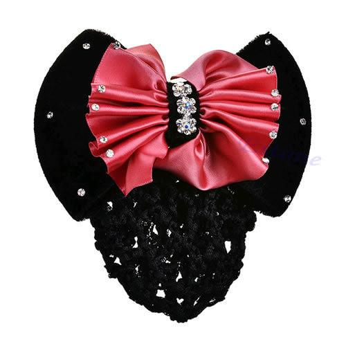 Satin Bow Rhinestone Barrette. women