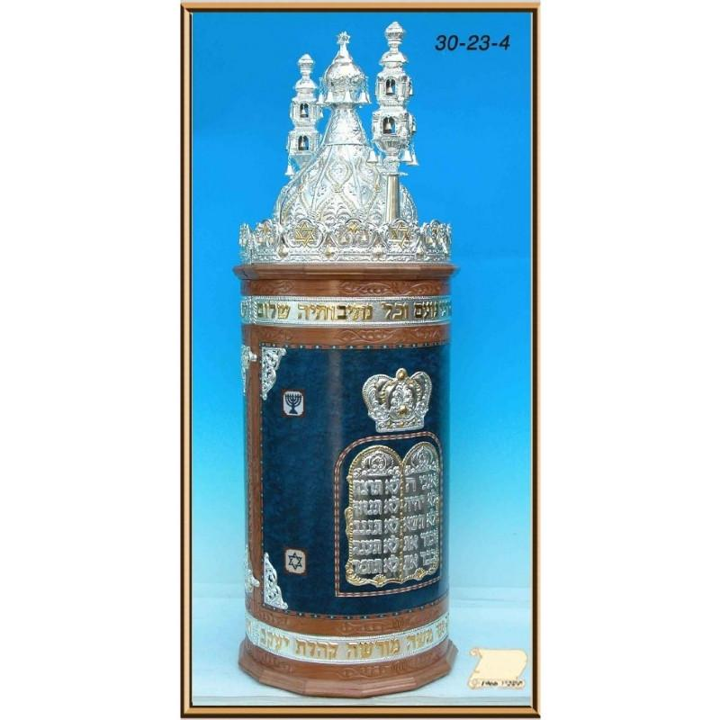 Sefardi Torah Cases In Wood Blue