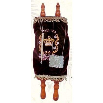 Sefer Torah Scroll with Plaque, Yad & Velvet Cover Maroon Large