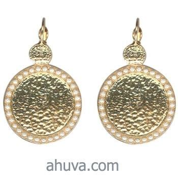 Set Of Golden Round Plate Earrings