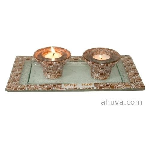 Shabbat & Candle Holder Tray Set 2 Piece Set