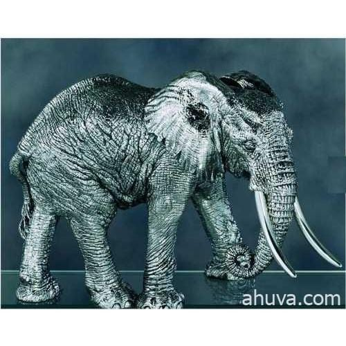 Silver African Elephant Figurines 160 mm