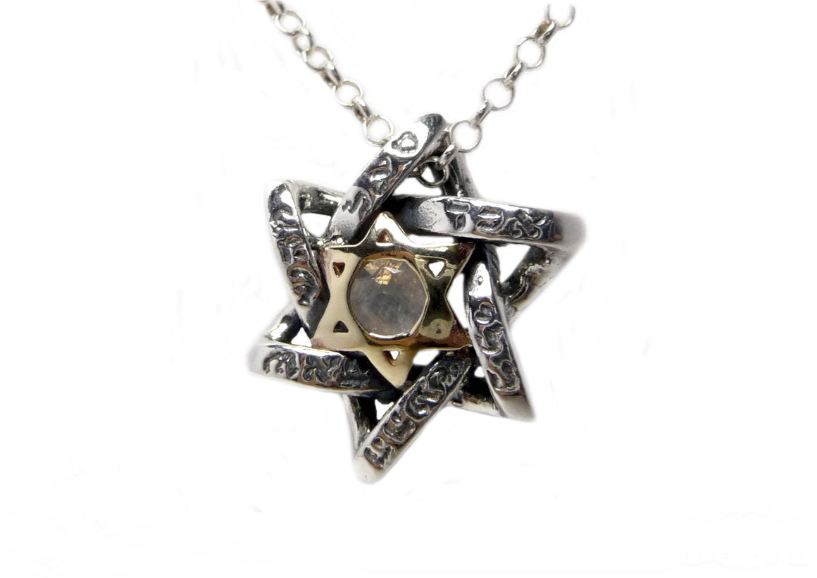 Silver Braided Star Kabbalah Pendant Necklace