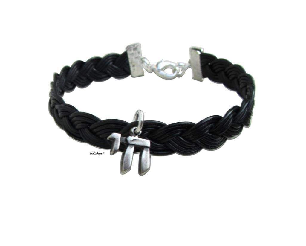 Silver Chai Black Leather Men Bracelet Jewish Jewelry Black