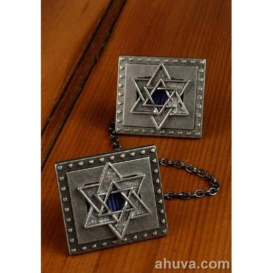 Silver- Color Star Of David Tallit Clips Blue