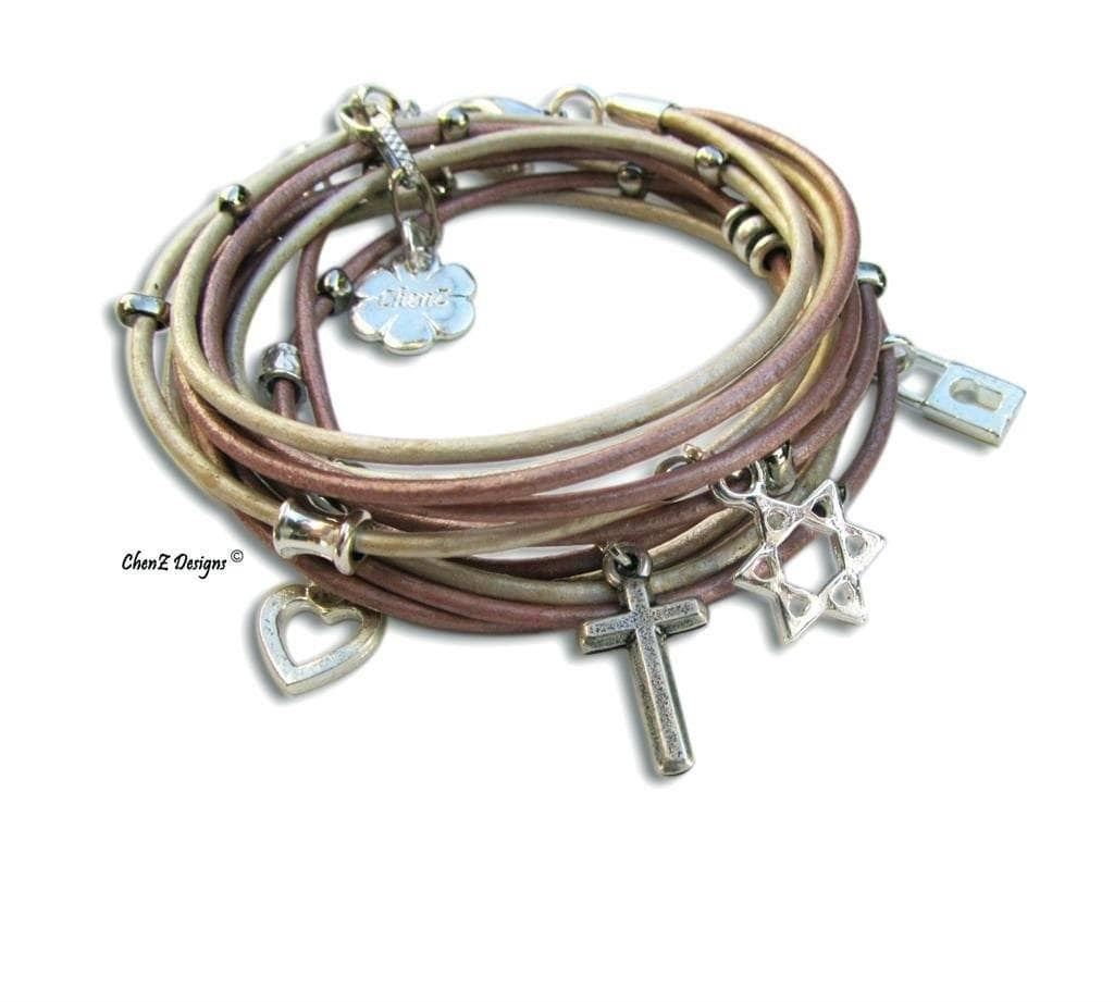 Silver Cross With Star Of David Pink Leather Wrap Bracelet Christian Jewelry