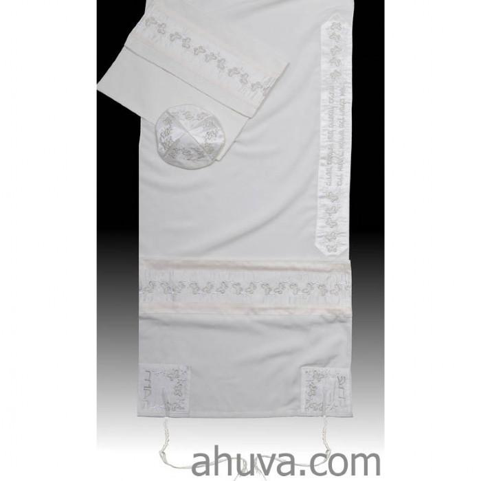 "Silver Embroidered Women Tallit Set 51x72"" (130/180 cm) #55 Wool Embroidery to 10 letters"