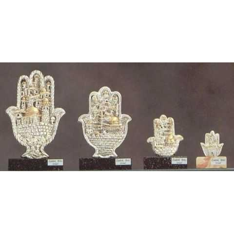 Silver & Gold Hamsa Plaque on Marble Stand 120 mm