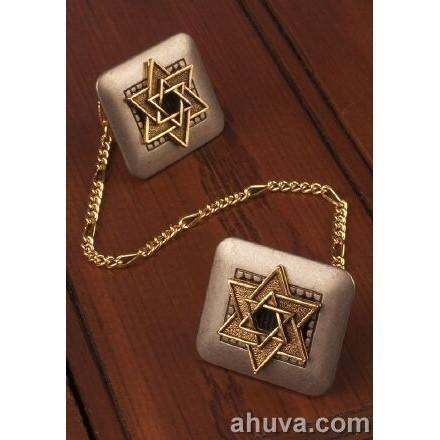 Silver-Gold Tallit Clips Black
