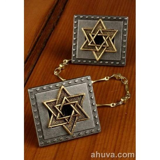 Silver & Gold Tallit Clips Blue