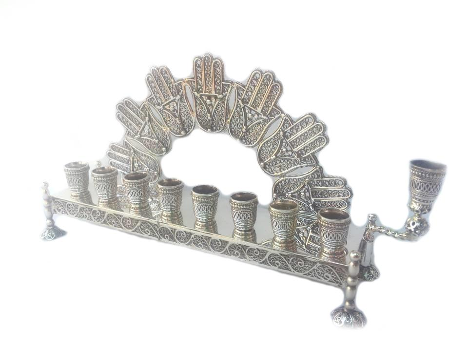Silver Lattice Hamsa Luck Menorah - Filigree