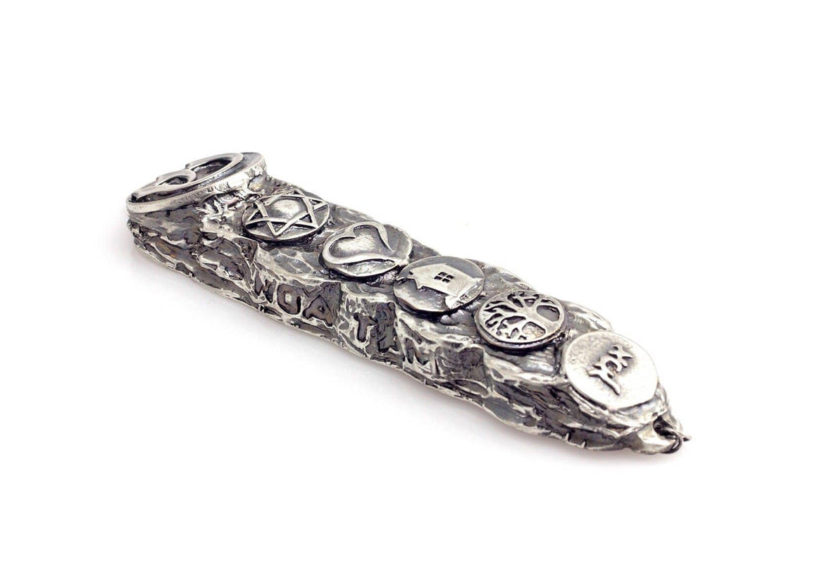 Silver Mezuzah with Bright Symbol & Blessings - Small (13cm)