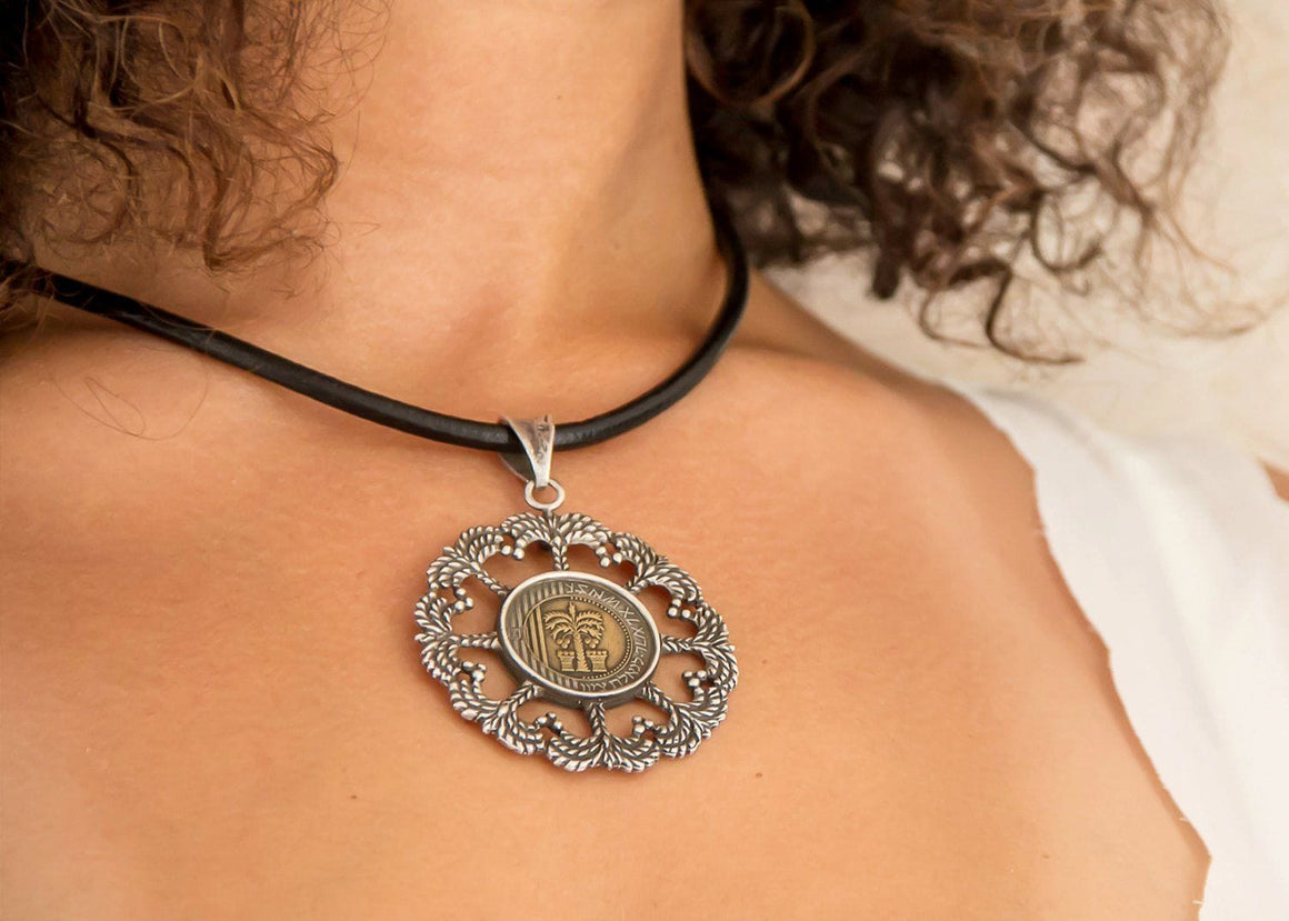 Silver Pendent Necklace with the Israeli 10 Sheqel Necklace
