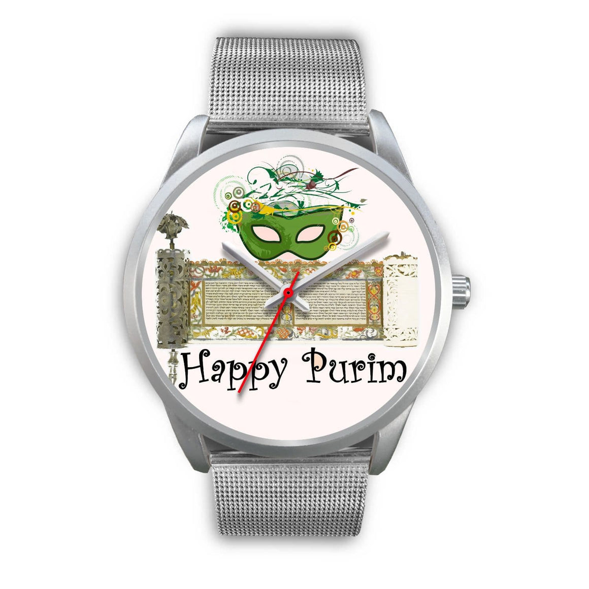 Silver Purim Wrist Watches in Colors Happy Purim! Silver Watch Mens 40mm Silver Metal Link