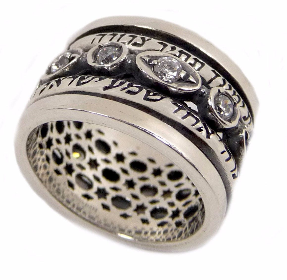 "Silver Ring Rotating ""Ana"" Set With Zircons"