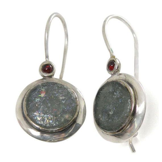 Silver Roman Glass Earrings With Garnet