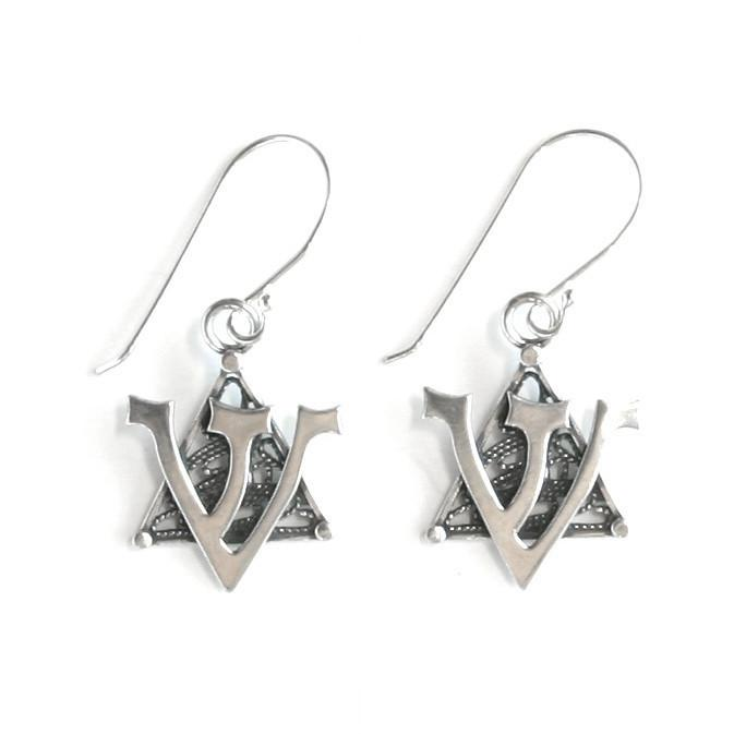 Silver Star Hanging Earrings.