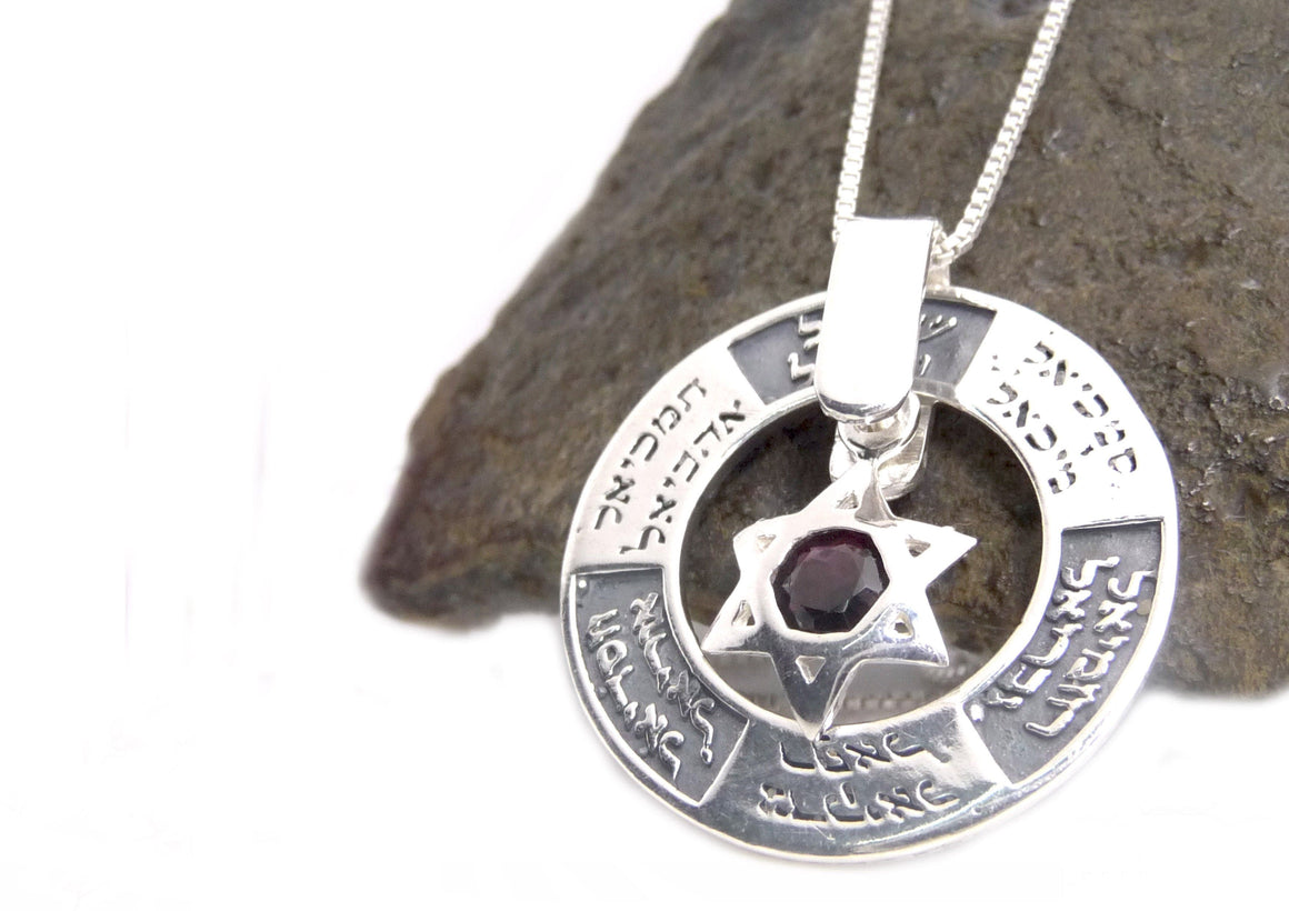 Silver Star Of David Dangling Onyx And Studded With The Names Of Angels