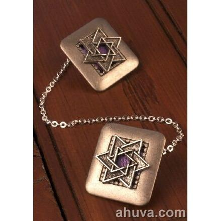 Silver Star Of David Tallit Clips Blue