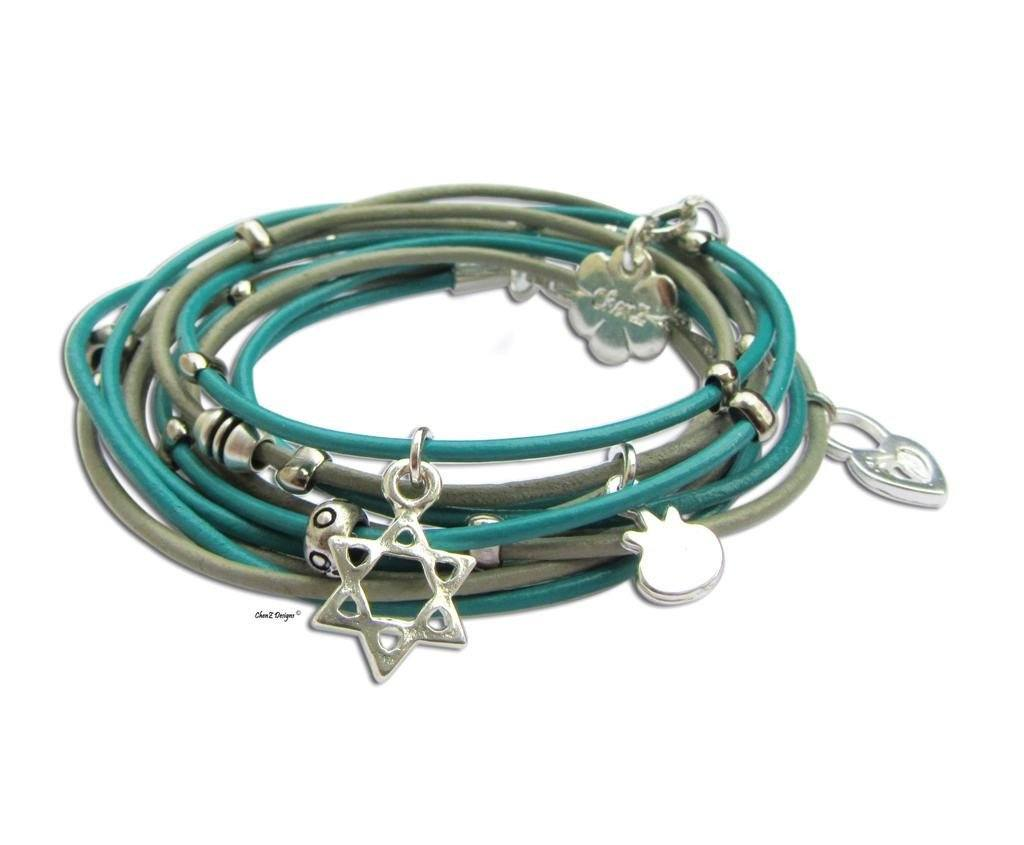 Silver Star Of David Turquoise Leather Wrap Bracelet Jewish Charms