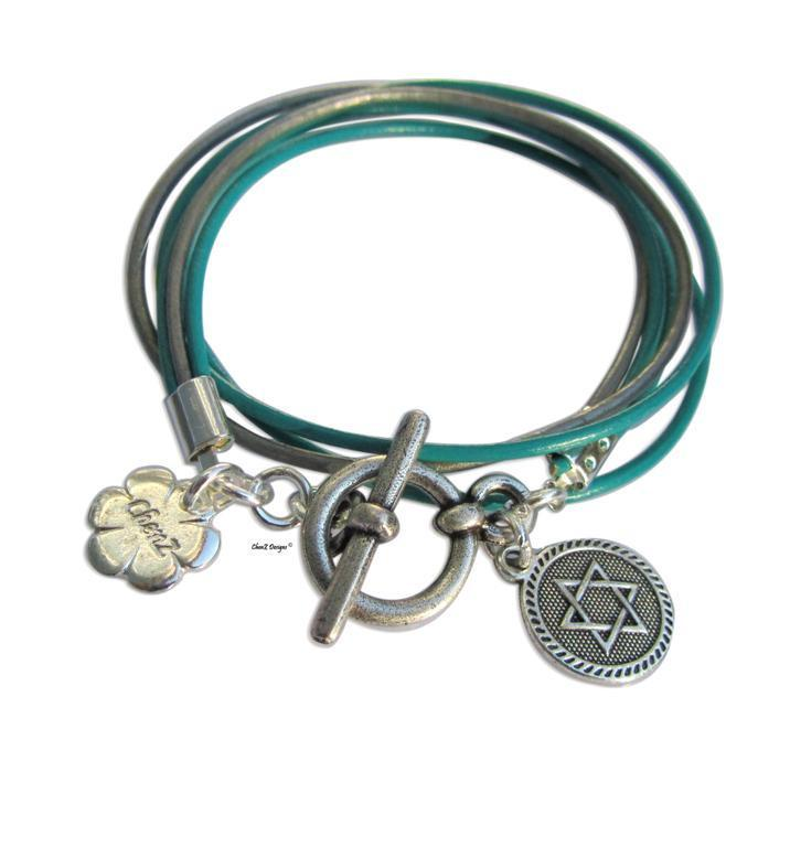 Silver Star Of David Turquoise Leather Wrap Bracelet Jewish Jewelry
