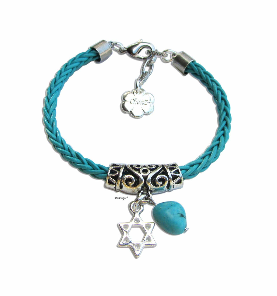 Silver Star Of David Turquoise Stone & Leather Bracelet