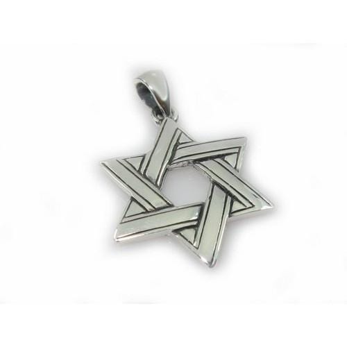 Silver Star Of David Twined Necklace 18 inches Chain (45 cm)